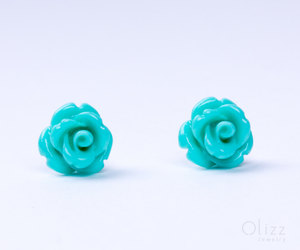 turquoise rose earrings, sterling silver studs, and turquoise stud earrings image