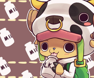 chopper, one piece, and milk image