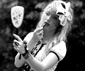 black and white, model, and blonde image