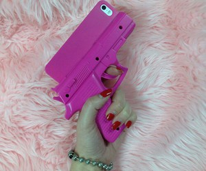 pink, iphone, and gun image