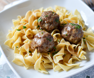 food, meat, and pasta image