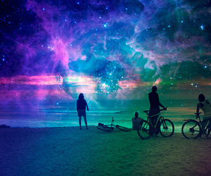 beach, sky, and bicycle image