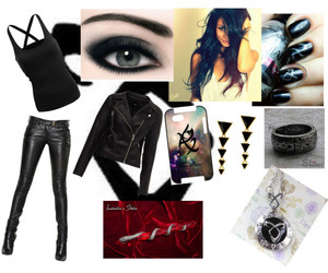 black hair, clothes, and eyes image