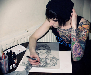 tattoo, boy, and drawing image