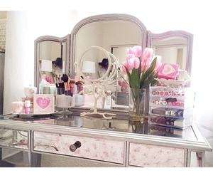 flowers, pink, and make up image