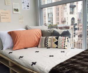 bed, orange, and decor image