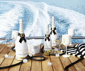 champagne, luxury, and boat image
