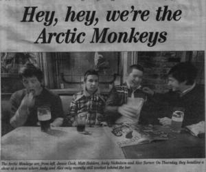 arctic monkeys, black and white, and newspaper image