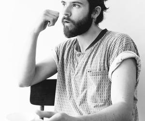 beard, man bun, and Hot image
