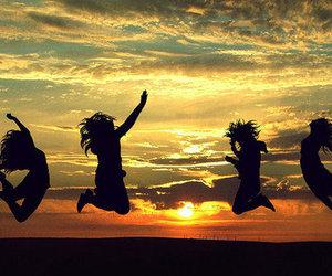 beach, fun, and jump image