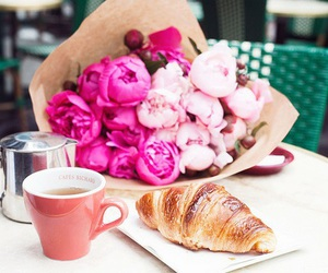 flowers, croissant, and food image