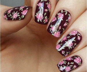 art, nails, and floral image
