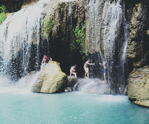 water, summer, and waterfall image