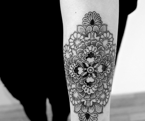 arm tattoo, flowers tattoo, and girls tattoo image