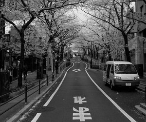 black and white, japan, and street image