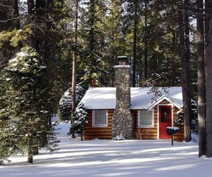 cabin, dream house, and fireplace image