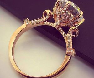 ring, diamond, and gold image