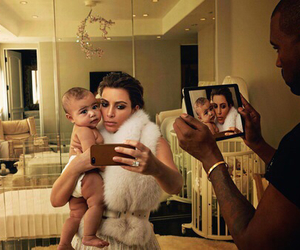 kim kardashian, kanye west, and family image