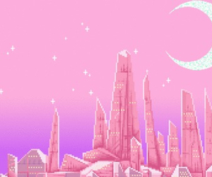 pink, moon, and purple image