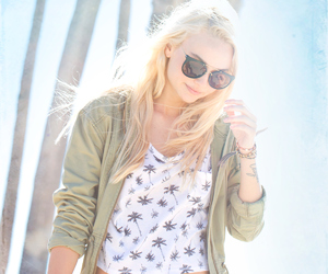 blonde, palm trees, and sunglasses image