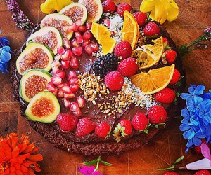 cake, chocolate, and fruit image
