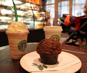 starbucks, food, and muffin image