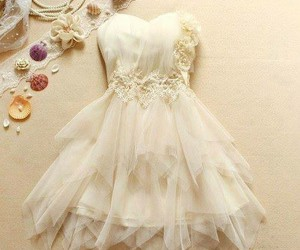 dress, flowers, and whitw image