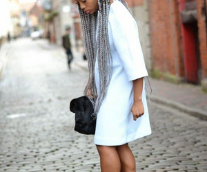 silver and box braids image