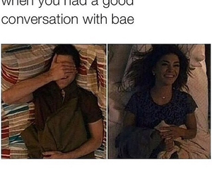 bae, boyfriend, and conversation image