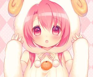 pink hair and sheep image
