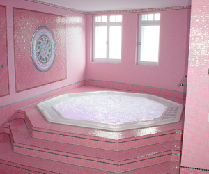 pink, bathroom, and aesthetic image