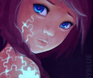 girl, puzzle, and art image