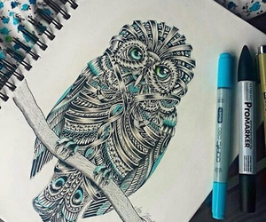art, owl, and tattoo image