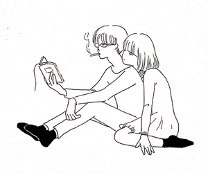 couple, love, and book image