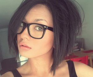 black hair, glasses, and office image