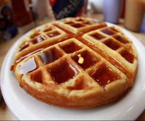 food, waffles, and yum image