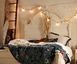 bedroom, bed, and light image