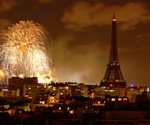 paris, eiffel tower, and fireworks image