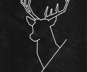 black, deer, and geometric image