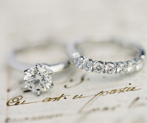 diamond, wedding, and rings image