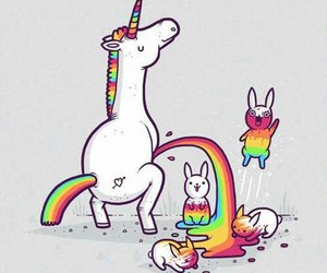 unicorn, rainbow, and rabbit image