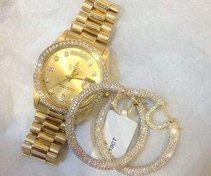 gold, diamond, and watch image