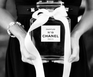 chanel, perfume, and black and white image