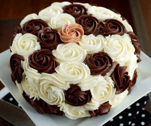 cake, chocolate, and rose image