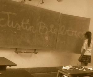 girl, school, and justin bieber image