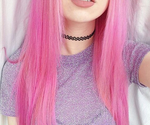 hair, pretty, and pink image