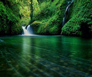 green, waterfall, and nature image