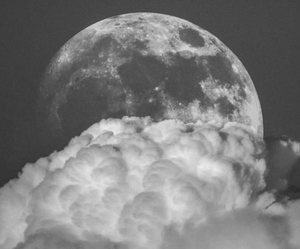 moon, clouds, and black and white image