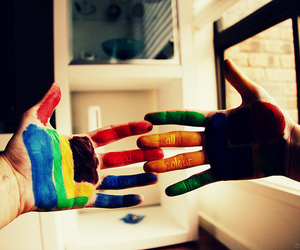 colourful, hands, and paint image