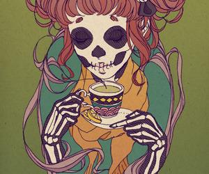 tea, skull, and art image